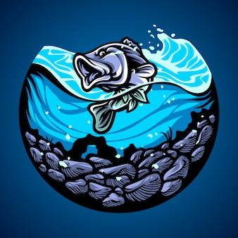 Ilustración dibujada a mano de pescado