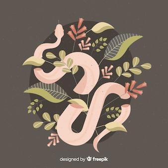 Ilustración dibujada a mano serpiente con flores
