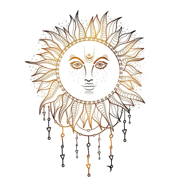 Ilustración dibujada a mano del sol brillante, elemento creativo del estilo del boho.