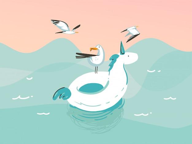 Ilustración dibujada a mano con un unicornio nadando anillos de flotador de goma en el paisaje de las olas del océano sobre fondo azul