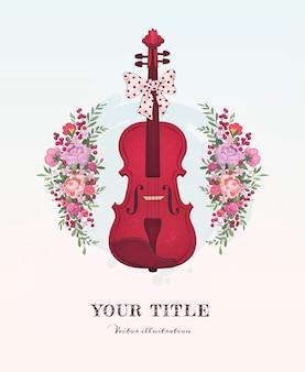 Ilustración dibujada a mano de violín y flores.