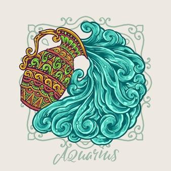Ilustración dibujada a mano del zodiaco de acuario