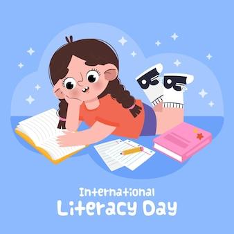 Ilustración dibujada de niña leyendo