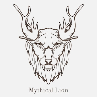 Ilustración de dibujado a mano de arte de línea de león mítico