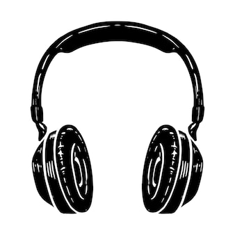 Ilustración de dibujado a mano de auriculares aislados sobre fondo blanco. elemento de diseño de cartel, camiseta, tarjeta, emblema, letrero, insignia. ilustración vectorial