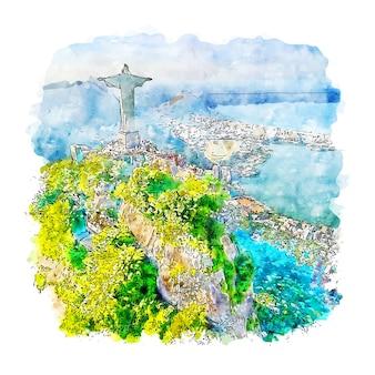 Ilustración de dibujado a mano de boceto de acuarela de río de janeiro brasil
