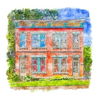 Ilustración de dibujado a mano de bosquejo de acuarela de american house