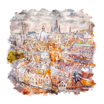 Ilustración de dibujado a mano de bosquejo acuarela de aquisgrán alemania