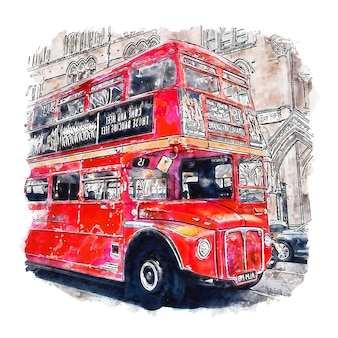 Ilustración de dibujado a mano de bosquejo de acuarela de autobuses rojos tradicionales de londres