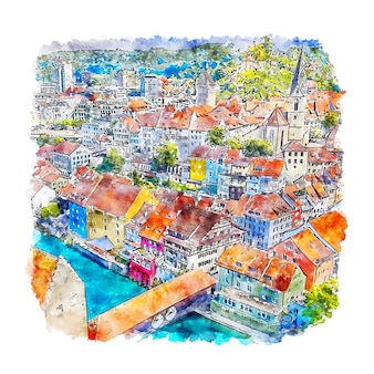 Ilustración de dibujado a mano de bosquejo de acuarela de baden village suiza