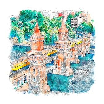 Ilustración de dibujado a mano de bosquejo de acuarela de berlín alemania