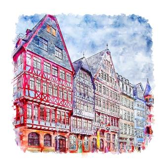 Ilustración de dibujado a mano de bosquejo de acuarela de frankfurt alemania