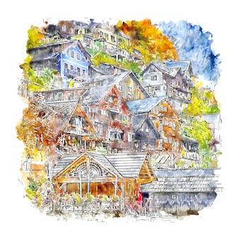 Ilustración de dibujado a mano de bosquejo de acuarela de hallstatt austria