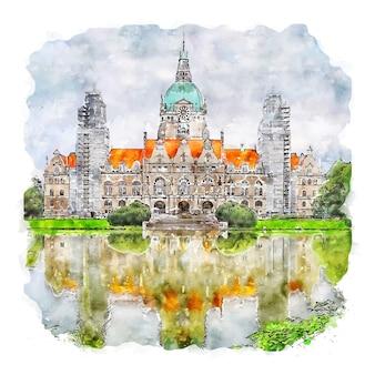 Ilustración de dibujado a mano de bosquejo de acuarela de hannover alemania