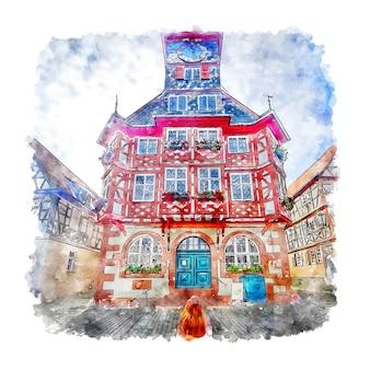 Ilustración de dibujado a mano de bosquejo de acuarela de heppenheim alemania