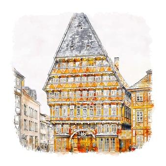 Ilustración de dibujado a mano de bosquejo de acuarela de hildesheim alemania