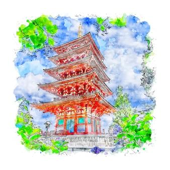 Ilustración de dibujado a mano de bosquejo de acuarela de japón del templo de tokio