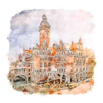Ilustración de dibujado a mano de bosquejo de acuarela de leipzig alemania