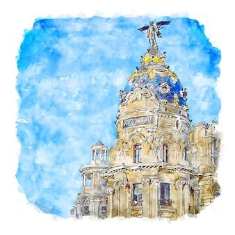 Ilustración de dibujado a mano de bosquejo de acuarela de madrid españa