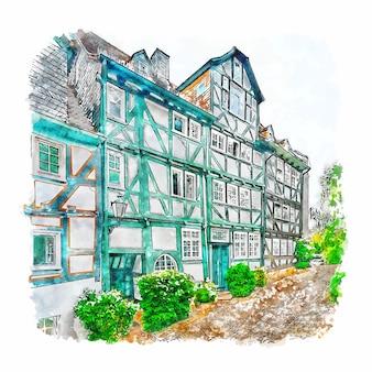 Ilustración de dibujado a mano de bosquejo de acuarela de marburg alemania