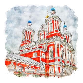 Ilustración de dibujado a mano de bosquejo de acuarela de moscú rusia