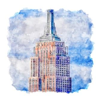 Ilustración de dibujado a mano de bosquejo de acuarela de nueva york estados unidos