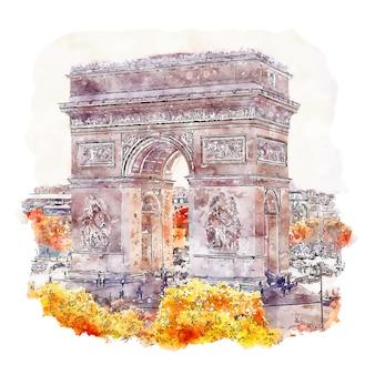 Ilustración de dibujado a mano de bosquejo de acuarela de parís francia