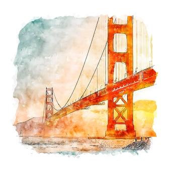 Ilustración de dibujado a mano de bosquejo de acuarela de san francisco california