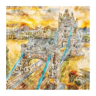 Ilustración de dibujado a mano de bosquejo de acuarela de tower bridge londres