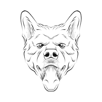 Ilustración de dibujado a mano de cabeza de perro