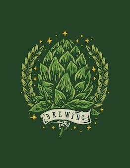 Ilustración de dibujado a mano de cervecería de la vieja escuela vintage