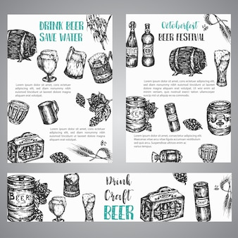 Ilustración de dibujado a mano de cerveza conjunto de folletos con colección de cervecería vintage bosquejado vector símbolos festival de octubre banner