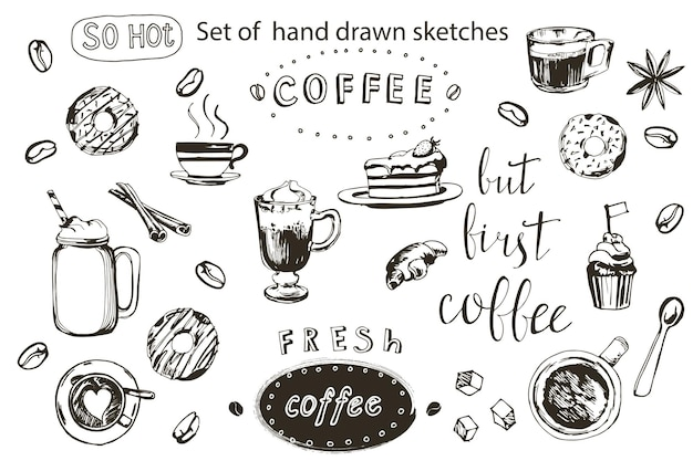 Ilustración de dibujado a mano de colección de café. juego de café dibujado a mano. ilustración vectorial.