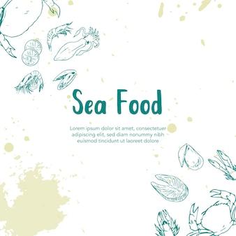 Ilustración de dibujado a mano de comida de mar