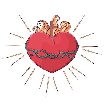 Ilustración de dibujado a mano de concepto de corazón sagrado