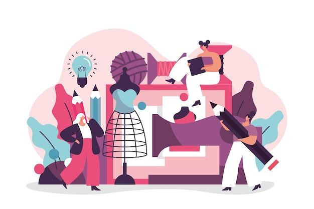Ilustración de dibujado a mano de concepto de diseñador de moda
