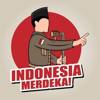 Ilustración de dibujado a mano del concepto de tarjeta de felicitación del día de la independencia de indonesia.