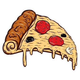 Ilustración de dibujado a mano de corte de pizza aislado sobre fondo blanco. elemento de diseño de carteles, tarjetas, pancartas, camisetas, emblemas, letreros. ilustración vectorial
