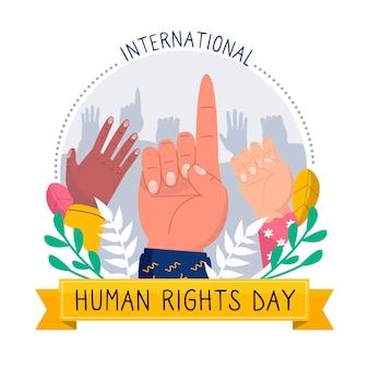 Ilustración de dibujado a mano del día de los derechos humanos