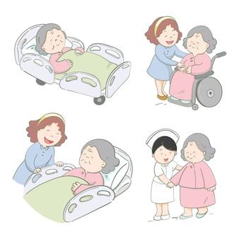 Ilustración dibujado a mano diseño de personajes cuidado de pacientes mayores