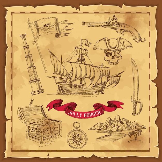 Ilustración de dibujado a mano de elementos piratas