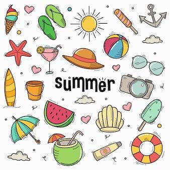 Ilustración de dibujado a mano de estilo de arte de línea de doodle de verano
