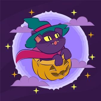 Ilustración de dibujado a mano de fondo de gato de halloween de dibujos animados