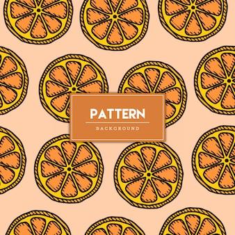 Ilustración de dibujado a mano de fruta naranja de patrones sin fisuras