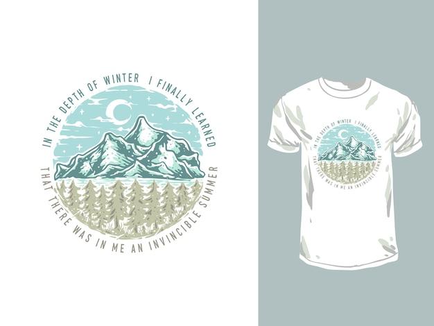 Ilustración de dibujado a mano de montaña de bosque de invierno