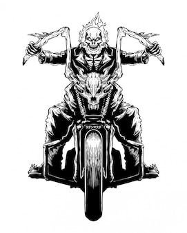 Ilustración de dibujado a mano del motorista del cráneo del fuego