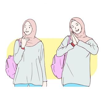 Ilustración de dibujado a mano de niña musulmana
