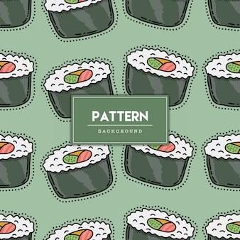 Ilustración de dibujado a mano de patrones sin fisuras de comida de sushi