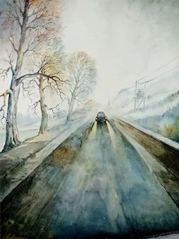 Ilustración de dibujado a mano de pintura de paisaje de acuarela