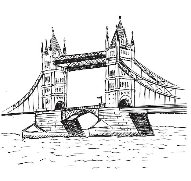 Ilustración de dibujado a mano de puente de la torre